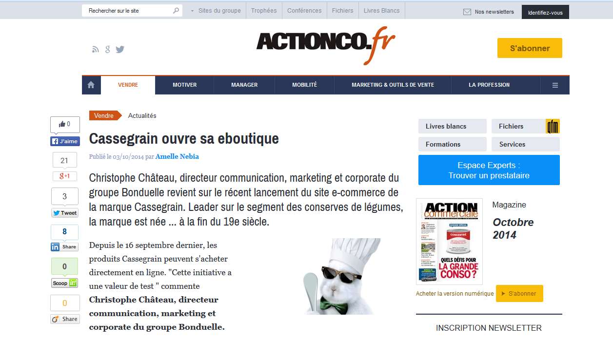 L'article d'actionco sur la eboutique de cassegrain